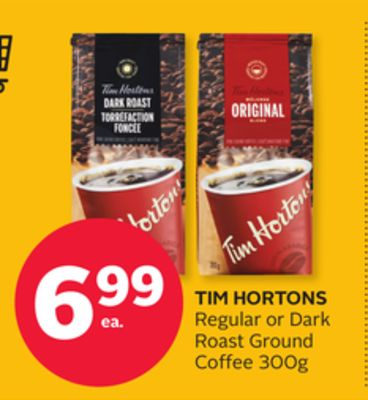 Tim Hortons Regular or Dark Roast Ground Coffee