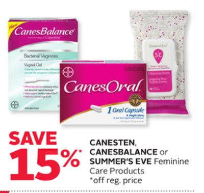 Canesten - Canes Balance or Summer's Eve Feminine Care Products