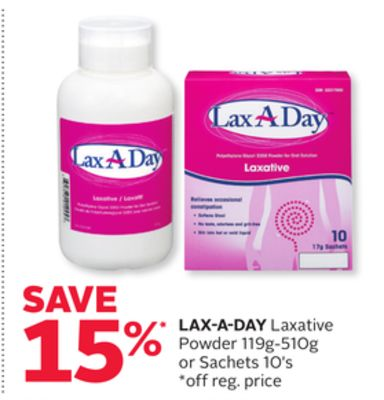 Lax-a-day Laxative Powder 119g-510g or Sachets 10's