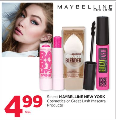 Select Maybelline New York Cosmetics or Great Lash Mascara Products