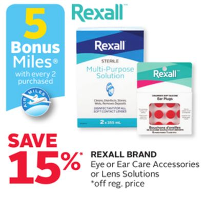 Rexall Brand Eye or Ear Care Accessories or Lens Solutions - 5 Bonus Air Miles Reward Miles
