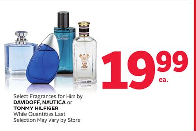 Select Fragrances For Him By Davidoff - Nautica or Tommy Hilfiger