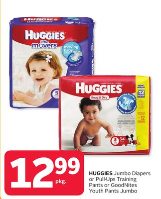 Huggies Jumbo Diapers or Pullups Training Pants or Goodnites Youth Pants Jumbo