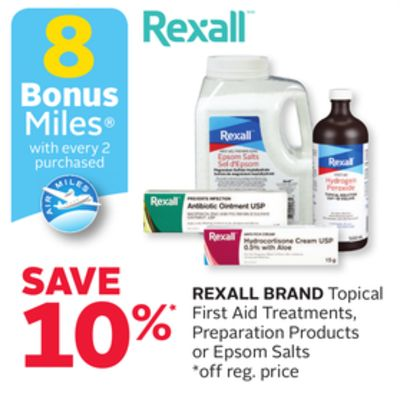 Rexall Brand Topical First Aid Treatments - Preparation Products or Epsom Salts - 8 Bonus Air Miles Reward Miles