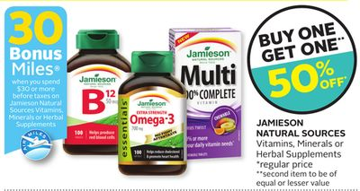 Jamieson Natural Sources Vitamins - Minerals or Herbal Supplements - 30 Bonus Air Miles Reward Miles