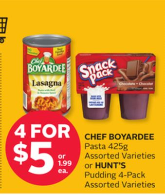 Chef Boyardee Pasta 425g or Hunt's Pudding 4-pack