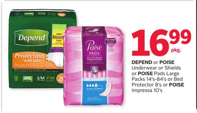 Depend or Poise Underwear or Shields or Poise Pads Large Packs 14's-84's or Bed Protector 8's or Poise Impressa 10's