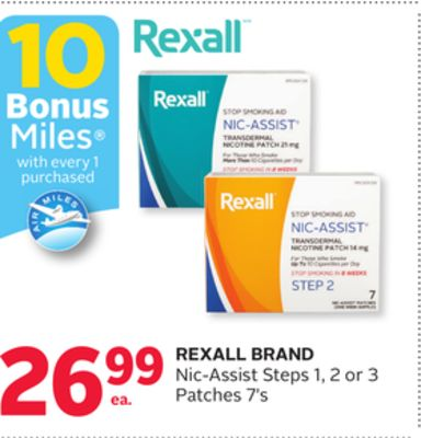 Rexall Brand Nic-assist Steps 1 - 2 or 3 Patches 7's - 10 Bonus Air Miles Reward Miles
