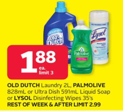 Old Dutch Laundry 2l - Palmolive 828ml or Ultra Dish 591ml Liquid Soap or Lysol Disinfecting Wipes 35's