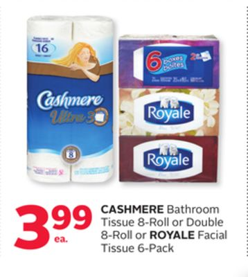 Cashmere Bathroom Tissue 8-roll or Double 8-roll or Royale Facial Tissue 6-pack