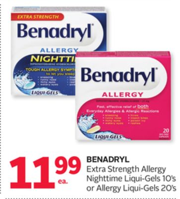 Benadryl Extra Strength Allergy Nighttime Liqui-gels 10's or Allergy Liqui-gels 20's