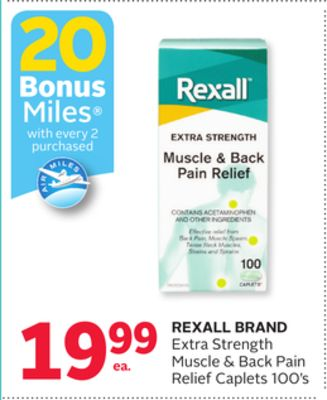 Rexall Brand Extra Strength Muscle & Back Pain Relief Caplets - 20 Bonus Air Miles Reward Miles