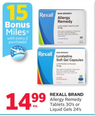 Rexall Brand Allergy Remedy Tablets 30's or Liquid Gels 24's - 15 Bonus Air Miles Reward Miles