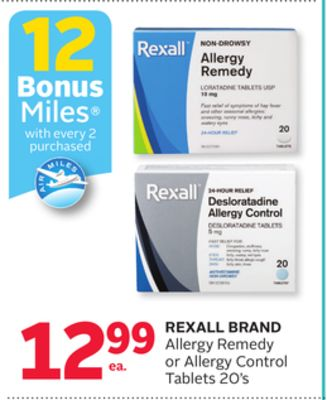 Rexall Brand Allergy Remedy or Allergy Control Tablets 20's - 12 Bonus Air Miles Reward Miles
