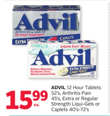 Advil 12 Hour Tablets 52's - Arthritis Pain 45's - Extra or Regular Strength Liqui-gels or Caplets 40's-72's
