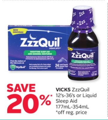 Vicks Zzzquil 12's-36's or Liquid Sleep Aid 177ml-354ml