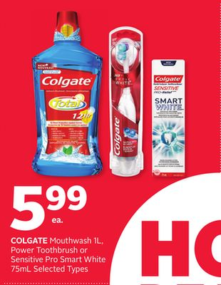 Colgate Mouthwash 1l - Power Toothbrush or Sensitive Pro Smart White 75ml