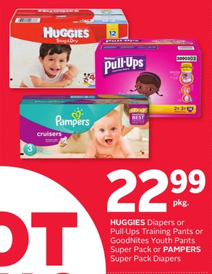 Huggies Diapers or Pull·ups Training Pants or Goodnites Youth Pants Super Pack or Pampers Super Pack Diapers