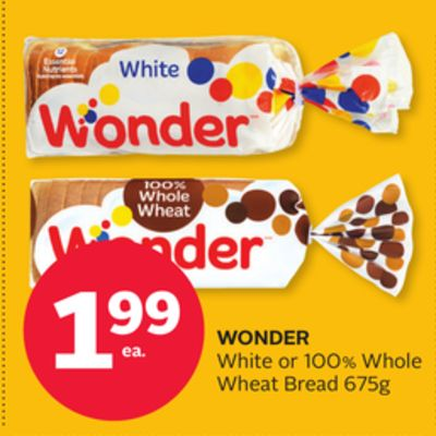 Wonder White or 100% Whole Wheat Bread 675g