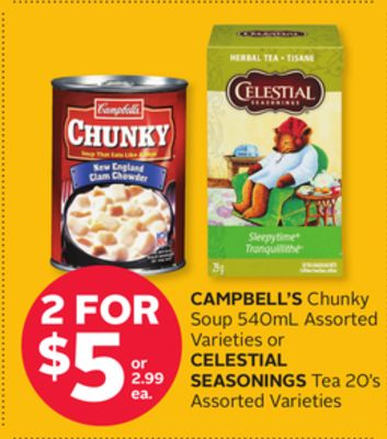 Campbell's Chunky Soup 540ml Assorted Varieties or Celestial Seasonings Tea 20's Assorted Varieties