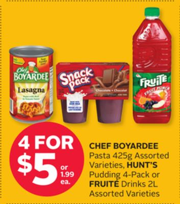Chef Boyardee Pasta 425g Assorted Varieties - Hunt's Pudding 4-pack or Fruité Drinks 2l
