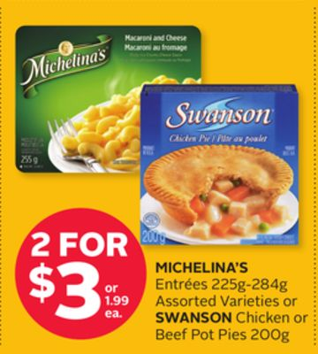 Michelina's Entrées 225g-284g Assorted Varieties or Swanson Chicken or Beef Pot Pies 200g