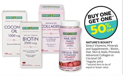 Nature's Bounty Select Vitamins - Minerals and Supplements - Biotin - Hair - Skin & Nails - Prenatal - Advanced Collagen or Coconut Oil