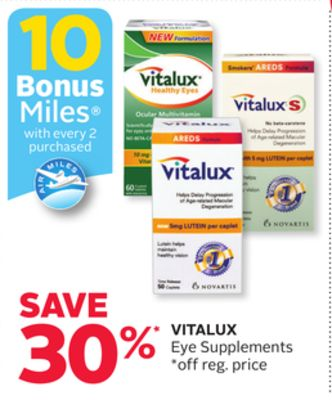 Vitalux Eye Supplements - 10 Bonus Air Miles Reward Miles