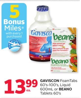 Gaviscon Foamtabs 60's-100's - Liquid 600ml or Beano Tablets 60's - 5 Bonus Air Miles Reward Miles