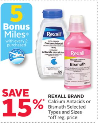 Rexall Brand Calcium Antacids or Bismuth - 5 Bonus Air Miles Reward Miles