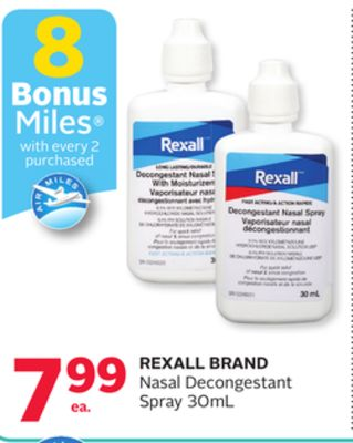 Rexall Brand Nasal Decongestant Spray - 8 Bonus Air Miles Reward Miles