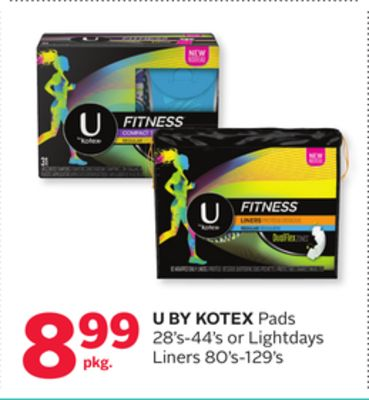 U By Kotex Pads 28's-44's or Lightdays Liners 80's-129's