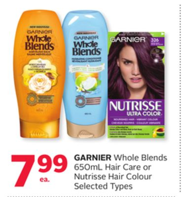 Garnier Whole Blends 650ml Hair Care or Nutrisse Hair Colour