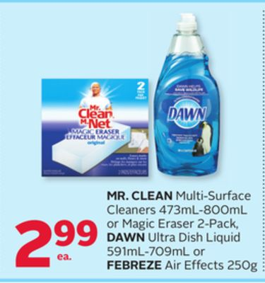 Mr. Clean Multi-surface Cleaners 473ml-800ml or Magic Eraser 2-pack - Dawn Ultra Dish Liquid 591ml-709ml or Febreze Air Effects 250g