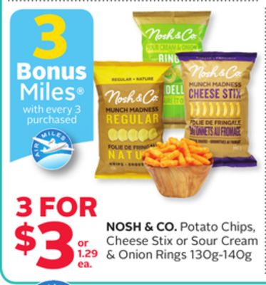 Nosh & Co. Potato Chips - Cheese Stix or Sour Cream & Onion Rings 130g-140g - 3 Bonus Air Miles Reward Miles