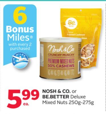 Nosh & Co. or Be.better Deluxe Mixed Nuts - 6 Bonus Air Miles Reward Miles