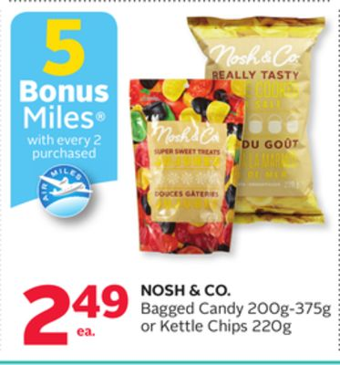 Nosh & Co. Bagged Candy 200g-375g or Kettle Chips 220g - 5 Bonus Air Miles Reward Miles
