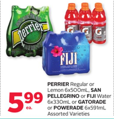 Perrier Regular or Lemon 6x500ml - San Pellegrino or Fiji Water 6x330ml or Gatorade or Powerade 6x591ml