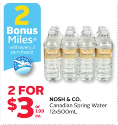 Nosh & Co. Canadian Spring Water - 2 Bonus Air Miles Reward Miles