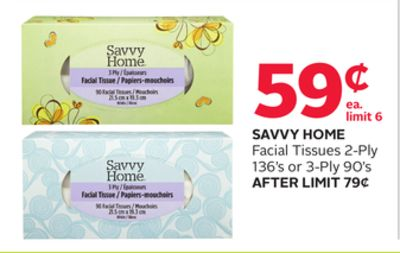 Savvy Home Facial Tissues 2-ply 136's or 3-ply 90's