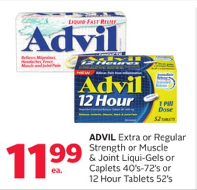 Advil Extra or Regular Strength or Muscle & Joint Liqui-gels or Caplets 40's-72's or 12 Hour Tablets 52's