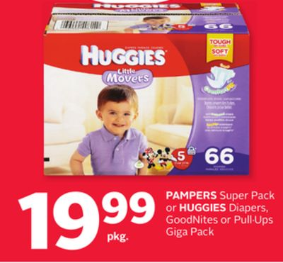 Pampers Super Pack or Huggies Diapers - Goodnites or Pull·ups Giga Pack