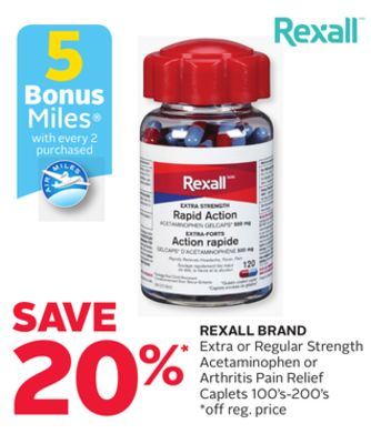 Rexall Brand Extra or Regular Strength Acetaminophen or Arthritis Pain Relief Caplets 100's-200's - 5 Bonus Air Miles Reward Miles