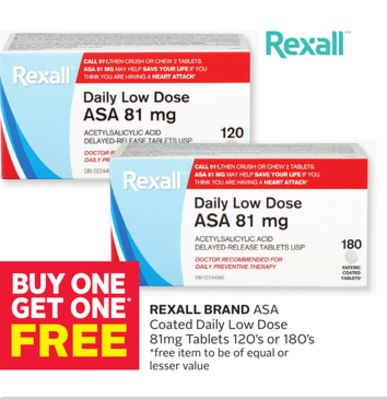 Rexall Brand Asa Coated Daily Low Dose 81mg Tablets 120's or 180's