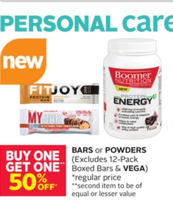 Bars or Powder (Excludes 12-pack Boxed Bars & Vega)