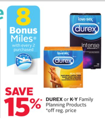 Durex or K·y Family Planning Products - 8 Bonus Air Miles Reward Miles