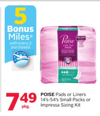 Poise Pads or Liners 14's-54's Small Packs or Impressa Sizing Kit - 5 Bonus Air Miles Reward Miles