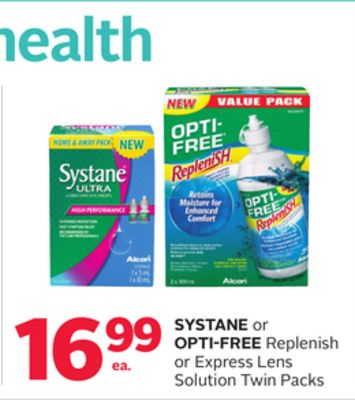 Systane Or Opti-Free Replenish Or Express Lens Solution Twin Packs