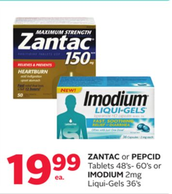 Zantac Or Pepcid Tablets 48's- 60's Or Imodium 2mg Liqui-gels 36's