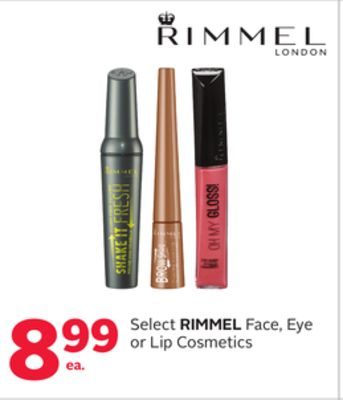 Select Rimmel Face - Eye or Lip Cosmetics